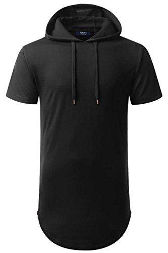 AIYINO Herren Hip Hop 100% Baumwolle Kurzarm Pullover Hoodie XL Schwarz (T-shirt Hip Schwarzes Hop)