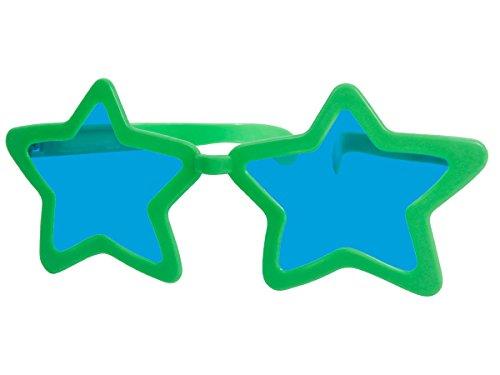 Alsino Funbrille Jumbo Partybrille Riesenbrille Spaßbrille Stern Karneval Fasching Party Brille F-050, wählen:grün