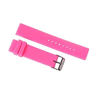 18mm Women's Vivid Pink Watch Silicone Band Replacement Straps Durable Rubber with Adjustable Pin Buckle