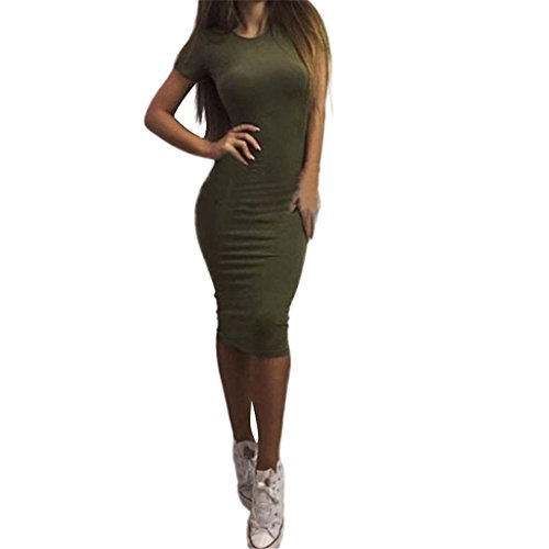 Tonsee Femmes Robes Manches Courtes Bandage Robes Moulante Vestidos Crayon Dress Vert