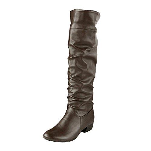 Longra Tinta Unita Donna Inverno Moda PU Materiale Superiore Tacco a Punta Tacco Alto Stivali al Ginocchio (EU Size:43, Marrone)