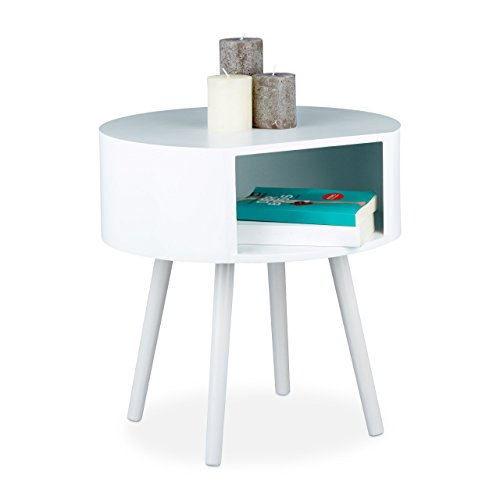 Relaxdays 10020608 Table d'appoint bois blanc ronde table console guéridon salon canapé table de chevet HxlxP: 47 x 46 x 46 cm, blanc