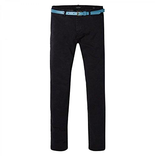 Scotch & Soda Herren Hosen Classic Garment Dyed Chino Pant in Stretch Cotton Quality Schwarz (Black 0008)