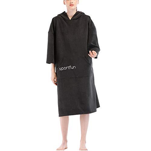 (BESTSOON Spa-Robe mit Kapuze Wasserabsorbierendes Reise-Tauchen für Erwachsene Tauchen Strandtuch Schnell trocknender Bademantel Kapuzenschal Wickelauflage (schwarz) Leichter Plüsch Fleece-Fleece)
