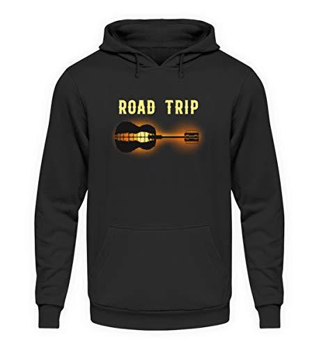 EBENBLATT Road Trip Gitarre Camping Camper Geschenk - Unisex Kapuzenpullover Hoodie -3XL-Jet Schwarz (Camping-gitarre)
