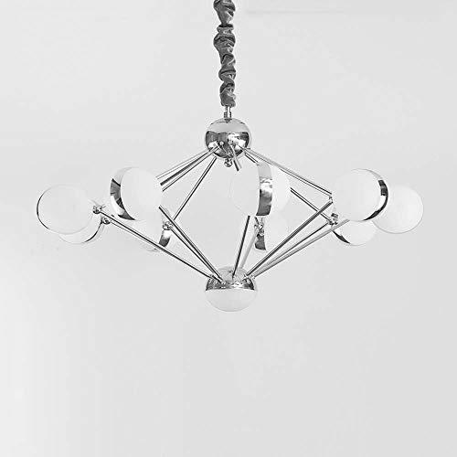 Xinqing Kreative Einfache Und Stilvolle LED Schmiedeeisen Kugelförmige Acryl Überzug Magische Bohne Mode Wohnzimmer Schlafzimmer Esszimmer Kronleuchter 9 Gutes Material (Farbe : Chrome) -