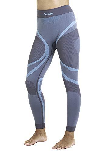 XAED, pantaloni da sci per strato base, da donna, colore grigio/blu chiaro, Taglia S, intimo termico donna