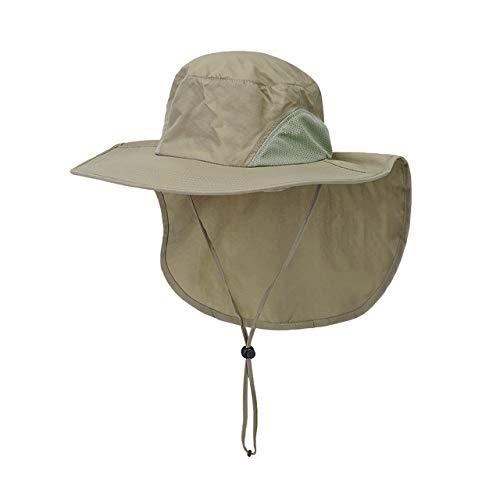 Faletony Outdoor Sonnenhut mit Nackenschutz, UV Schutz Faltbar Buschhut Boonie Hat Fischerhüte Bucket Safari Hut für Damen Herren (Khaki) Safari-hut Khaki