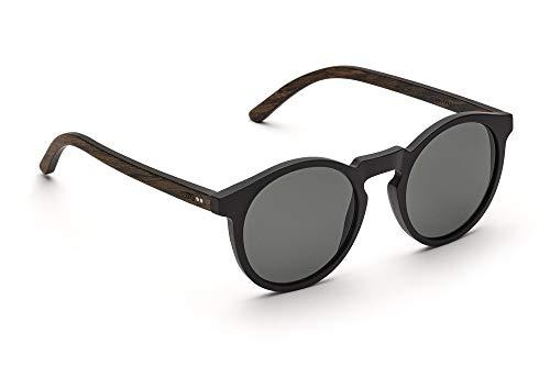TAKE A SHOT - Schmale runde Holz-Sonnenbrille Damen, Holz-Bügel und Kunststoff-Rahmen, UV400 Schutz, rückentspiegelte Gläser - Lukas