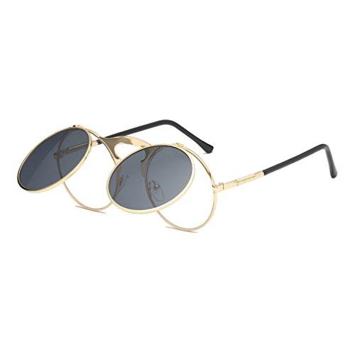 Sonnenbrille für Herren und Damen Premium Qualität Steampunk Klapp-Brille Flip Up Runde Metall Rahmen Gläser