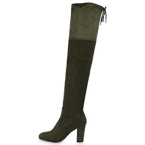 Overknees Damen Schleifen Langschaft Stiefel Lederoptik Dunkelgrün Grün