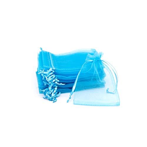 VARIOUS 144 PCS Bolsas Organza 9X13cm-Azul Claro