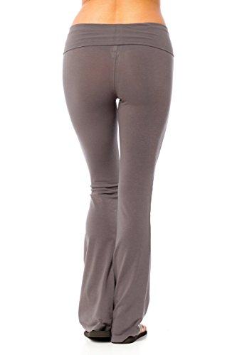 Hollywood Star Fashion Damen Yogahose, einfarbig, mit umklappbarem Bund Dunkelgrau