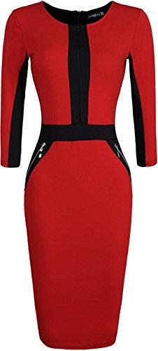 jeansian Damen Elegent High Elasticit Evening Gowns Pencil Kleider Tops WKD176 Red