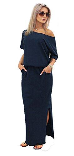 RUIGO Damen Schulterfreies Schlitz-Tasche Partei-Kleid-Maxi langes Abendkleid (EU 36, Dunkelblau)