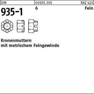 DIN 935-1 6 Fein Kronenmuttern mit metrischem Feingewinde - Abmessung: M38x1,5 (1 Stück)