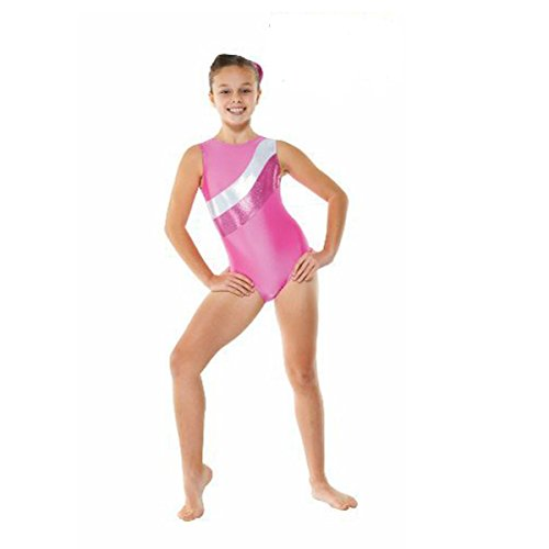 Girls Gymnastics Leotard - Lycra, sleeveless with foil stripes GYM18 (Pink, 9-10 years)