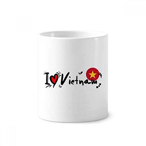 DIYthinker Ich liebe Vietnam Wort Flag Love Heart Illustration Keramik Zahnbürste Stifthalter Tasse...