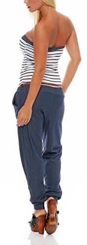 malito Damen Einteiler im Marine Design | Overall mit Gürtel | Jumpsuit im Jeans Look | Romper - Playsuit �?Bandeau 9650 Weiß