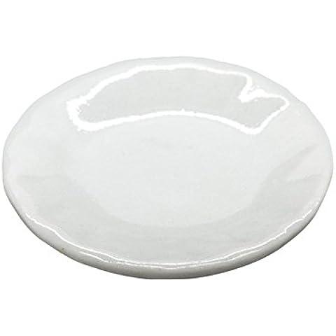 4 x MyTinyWorld 25mm Miniatura Para Casa De Muñecas Cerámica Blanca Placa Con Bordes Acanalados