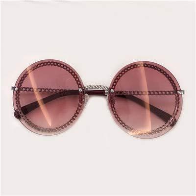 LKVNHP Neue Ankunft Damen Runde Sonnenbrille Frauen Legierung Rahmen Kette Sonnenbrille Weibliche Oculos De Sol Uv400No2 Sonnenbrille