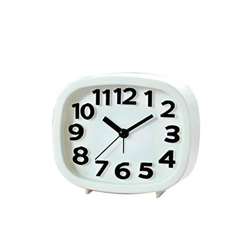 NVJD Mechanisch Laut Reizend Kleiner Wecker Kreativer Einfacher Student Clock Bedside Child Bedroom (Farbe : Weiß)