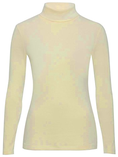 Polo collo Top Elasticizzato Donna Collo Manica Lunga Con Collo Alto Maglione 8 - 14 Cream UK S/M 40-42