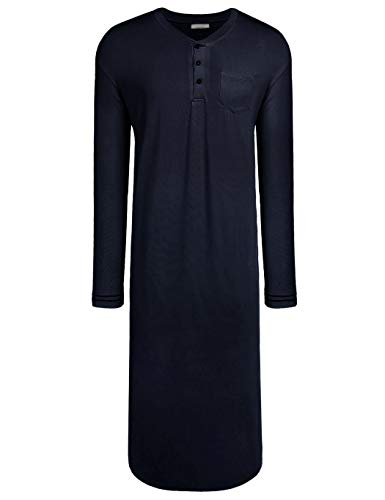 Langle Herren Nachthemd Big & Tall Schlafshirt Langarm Pyjama Henly Übergröße Nachthemd M-XXXL - - X-Large -