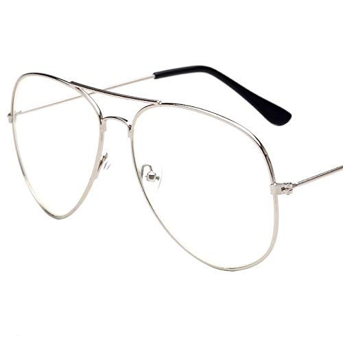 Aprigy - Mode Pilot Brille Frauen Lesebrille Herren-Sonnenbrillen Objektiv Jahrgang Metall Vollrand Transparente Gläser [C]