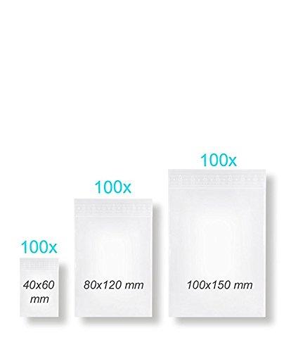 300 Stück Druckverschlussbeutel Gleitverschlussbeutel Verschlussbeutel ZIP Sortiment / Set mit 3 Größen LDPE 50my (Zip-beutel-set)