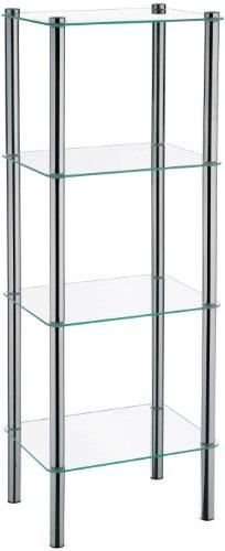 Kela 18051, Regal, 4 Etagen, Metall/Sicherheitsglas, 40 x 30x 106 cm, Lars, Verchromt