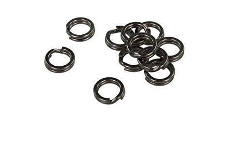 MADCAT SPLIT RINGS, geschmiedete Black Nickel Sprengringe aus japanischem Edelstahl, 10mm (100lb) o. 12mm (150lb), 16 Stück/Pack (10mm - 100lb) -