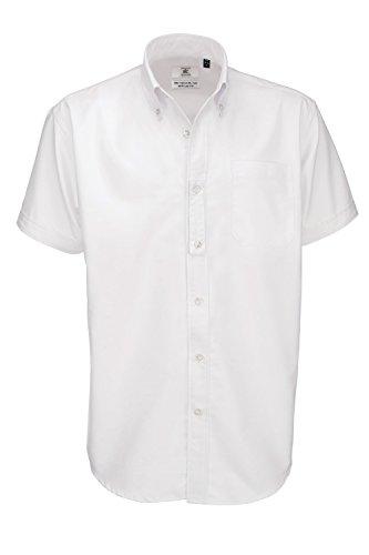 B&C Oxford Hemd für Männer, kurzarm (2XL) (Weiß) XXL,Weiß (Oxford-hemd)