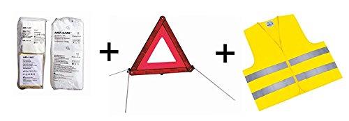 RAU PKW KFZ Verbandkasten Verbandtasche Warndreieck Warnweste Erste Hilfe Kombitasche rot, Erste Hilfe nach DIN 13164 + Warndreieck ECE + Warnweste EN