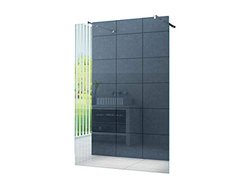 duschwand freistehend Freistehende 10 mm Duschabtrennung Düsseldorf 80 x 200 cm Klarglas/Walk-In Duschtrennwand Duschwand Dusche