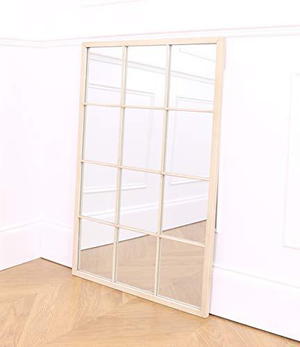 Select Mirrors Espejo Rectangular para Ventana de Metal, 60 cm x 90 cm, Color Crema