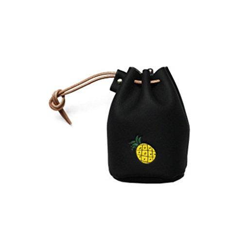 KOROWA Disegno della frutta della benna di cuoio dell'unità di elaborazione disegno della borsa del Drawstring mini borsa della moneta della moneta nero