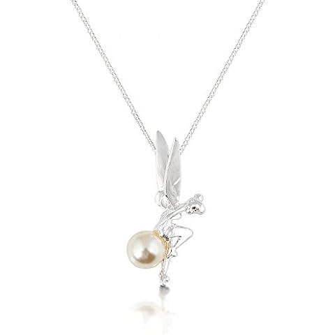 Disney Couture-Collana placcata in platino Tinkerbell seduto su una collana di perle