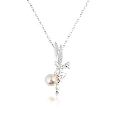 Disney Couture Bague en Plaqué Platine avec fée assis sur un collier de perles