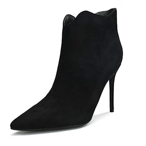 Fenghz-Shoes Schuhe Mode Stiefeletten für Frauen Seitlichem Reißverschluss Faux Wildleder Stiletto Spitz 8 cm Hochhackige Booties Innenreißverschluss (Color : Schwarz, Size : 42 EU)