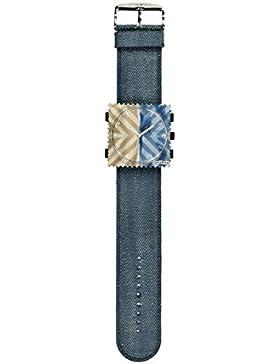 S.T.A.M.P.S. Stamps Uhr komplett - Zifferblatt Touareg auf Textilarmband Denim Blue