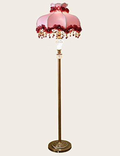 Cailin Lampe, Vertikale LED Eisen Kupfer Pole Tuch Schatten Stehleuchte Wohnzimmer Schlafzimmer Bedside Ländlichen Stehlampe Innen-Stehleuchte
