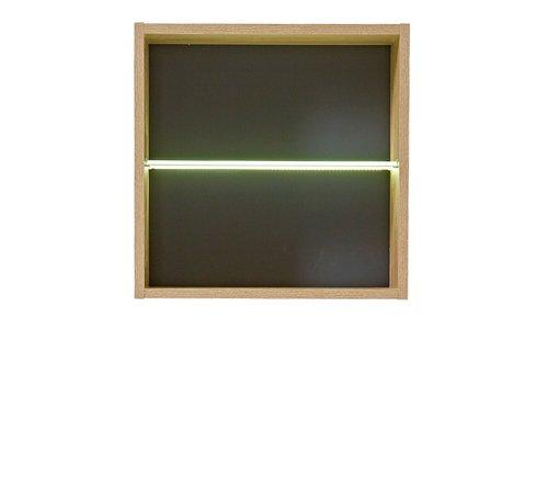 7-tlg Wohnwand in Eiche Nb./grau mit Akustik-Fächern und LED-Beleuchtung, Gesamtmaß B/H/T ca. 292/160/51 cm - 3