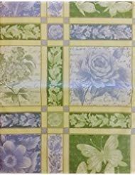 Schmetterlinge und Blumen Springtime Jacquard Vinyl Tischdecke Flanell Rückseite, Vinyl, mehrfarbig, 52 Inches X 52 Inches Square - Square Schmetterling Blatt