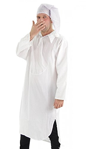Feiern Express Kostüm - Foxxeo Kostüm Nachthemd mit Schlafmütze - Schlafkostüm Karneval Fasching Größe XXL