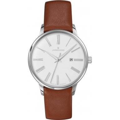 Junghans 047-4566-00 Ladies Meister Cognac Brown Leather Strap Watch