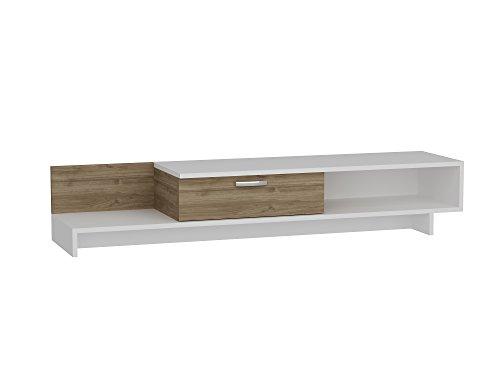 Alphamoebel TV Board Lowboard Fernsehtisch Fernsehschrank Sideboard, Fernseh Schrank Tisch für Wohnzimmer I Weiß Walnuss I Wrap 1681 I 161,8 x 39 x 30,6 cm