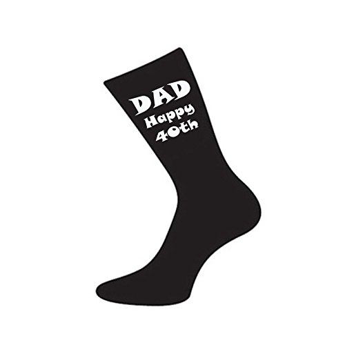 Dad Happy 40th Black Mens Socks for 40th Birthday Present