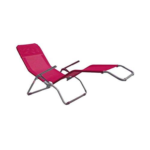 Sedia sdraio basculante in ferro con braccioli - fucsia long beach da spiaggia mare basculante