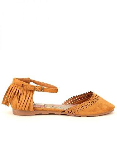 Cendriyon, Ballerine Peau Cuir Caramel POAKANA Chaussures Femme Caramel